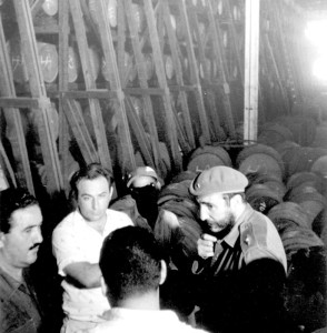 Fidel Castro at the old Bacardi aging house in 1963